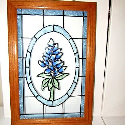 Vintage Leaded Stained Art Glass Wood Framed Window Hanging