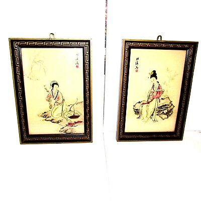 Vintage Framed Japanese Asian Oriental Hand Painted Pictures SIGNED Set of Two
