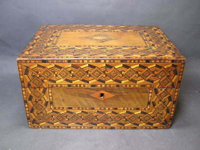 19thc Antique Parquetry Tunbridge Inlaid Sewing Box Lacking the Interia