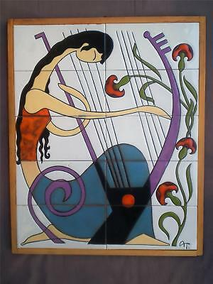 Greek Modern Tile Art Ceramic Plaque Signed Tsakirakis Ancient Music Woman Harp.