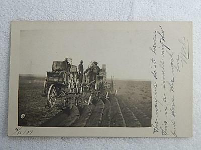 1907 RPPC Postcard Hayfield Minnesota MN Steam Tractor 6 Bottom Plow Scarce