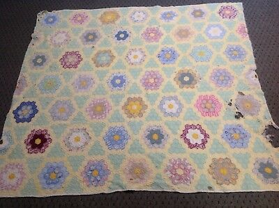 Vtg CUTTER Quilt 65x72 Grandmother's Flower Garden Hand Quilted Upcycle
