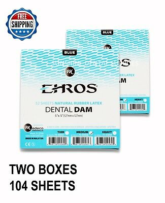 "2 BOXES Dental Endodontic Rubber Dam Latex MEDIUM Gauge 5""x5"" Blue - 52/box EROS"