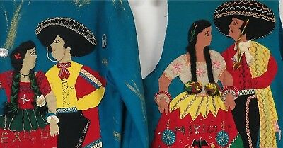 Lot of 2 Vintage 40s 50s Mexican Souvenir Jacket Embroidered Applique Distressed