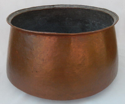 Large Vintage/Antique Hammered Copper Cantainer with Soldered Dovetailed Joints