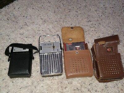 Lot Of 4 Vintage Transistor Radios For Parts/Repair Air Chief Continental Deluxe