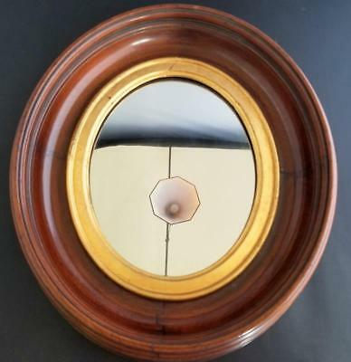 """Antique Wood Deep Well Wall Oval  Mirror Dovetailed 14.5 """" by 12"""""""