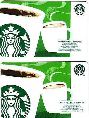 """2x STARBUCKS Gift Card """"Aroma Cups"""" COLLECTIBLE NO VALUE 2014 BILINGUAL"""