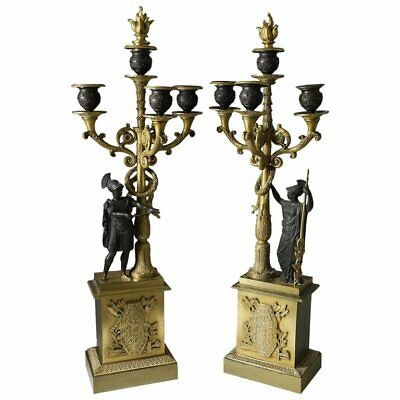 Pair of Second Empire French Gilt and Patinated Bronze Four-Light Candelabra