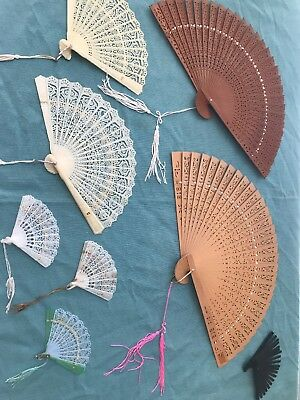"ANTIQUE JAPANESE HAND FAN ~ original tag reads ""made in Hong Kong"" Lot Of 8 Fans"