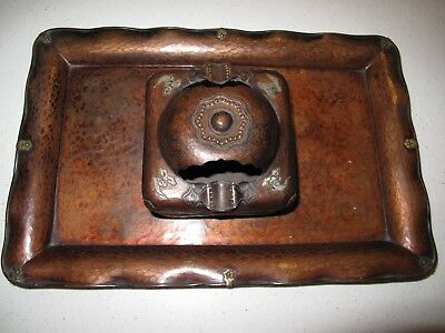 ANTIQUE JAPANESE HAMMERED COPPER BOX & TRAY Both Pieces Signed w Embellishments