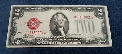 1928 F $2 Two Dollar Bill United States Legal Tender Red Seal Note *nice Note*