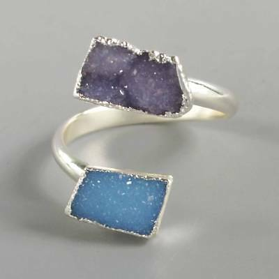 Size 8.5 Purple & Blue Agate Druzy Geode Adjustable Ring Silver Plated B070894