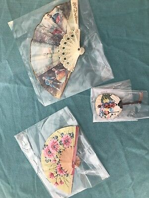 ANTIQUE JAPANESE HAND FAN ~ Very Rare Lot Of 3 Fans
