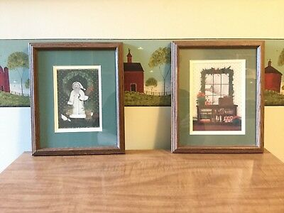 "Pat Richter Framed Christmas Set of Prints EUC ""Happy Holidays"" and ""Saint Nick"""