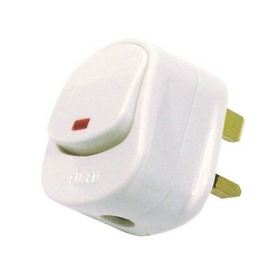 2 X Mains Plug Top with Switch on/off 13A Amp Fused switched Neon Light White