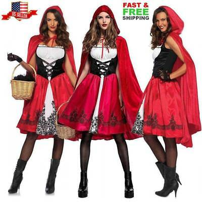 Adult Womens Little Red Riding Hood Casual Party Fancy Dress Halloween Costume