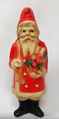 #g Vtg Christmas Tree Ornament Celluloid Plastic Santa Figure Candy Container??