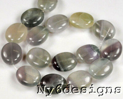 "25X20mm Natural Fluorite Big Oval Spacer Loose Beads 15""  (Y0707)d"