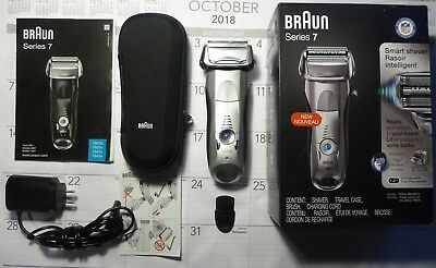 Braun Series 7 Wet Dry Shaver 7893S; Travel Case; Brush; Charger; Box; Manual