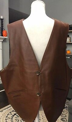 MEN'S ORVIS CANYON COUNTRY BROWN LEATHER VEST! COTTON LINING! 4 POCKETS! XL New