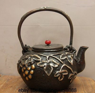 Archaic Japan Iron Silver Gilt Grape Grapes Portable Flagon Kettle Wine Tea Pot