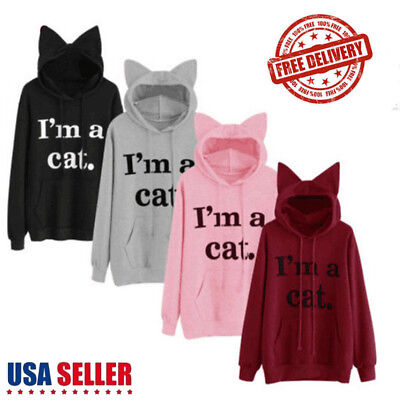 I'm a Cat Womens Cat Ear Long Sleeve Hoodie Sweatshirt Pullover Tops Blouse Coat