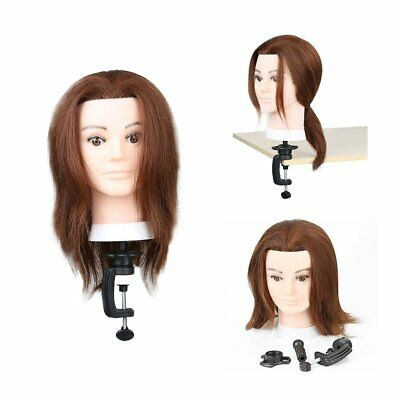 100% Real Human Hair 16'' Men Hairdressing Training Head Mannequin Doll + Clamp