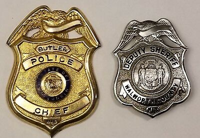2 Old Obsolete Badges, Wis. Butler Police Chief, Deputy Sheriff Walworth County