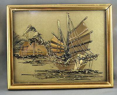 Vintage Copper Wall Art Of Chinese Junk & Homes Along River Framed Under Glass