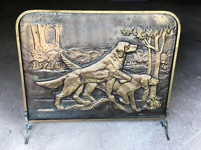 Vintage Fire Place shield/Guard BRASS & COPPER Screen TWO DOGS