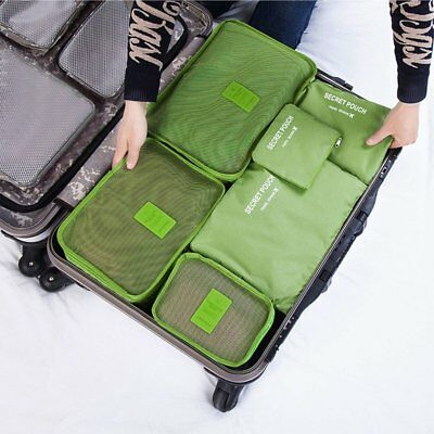 6PCS Waterproof Travel Storage Clothes Packing Cube Luggage Organizer Bag OG