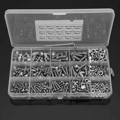 500pcs Stainless Steel Hex Socket Head Bolt Screws M3 M4 M5 Nuts Kit +3 Wrenches