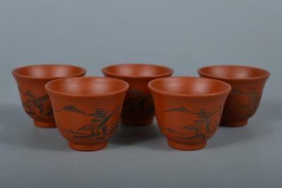 R6176: Japanese Tokoname-ware Brown pottery Landscape sculpture TEA CUP 5pcs