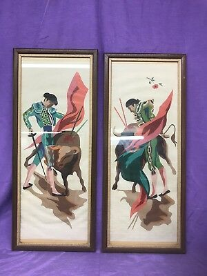 Vintage Pair Mid Century Modern Bullfighter Framed Decor Art Paint By Numbers