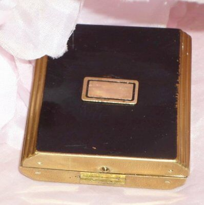 Fab **french Vintage Enamel Deco Compact ** Mirror  Rouge And Puff Inside 66Gms