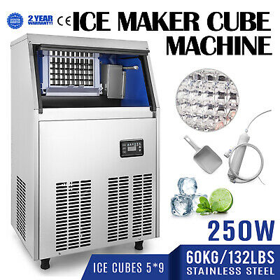 60KG/132LBS Commercial Ice Cube Maker Machine Heat Insulation 110V Restaurants