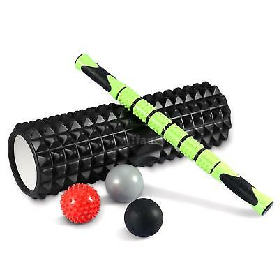 TOMSHOO Portable Massage Roller Kit Yoga Deep Tissue Back Physical Therapy O2G5