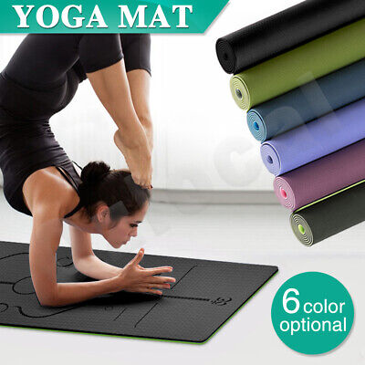 8MM TPE Yoga Mat Exercise Fitness Gym Pilates Eco Friendly Non Slip Dual Layer