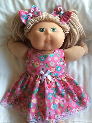 """DOLLS CLOTHES - DRESS & BOWS to fit 16"""" CABBAGE PATCH ~ Pink Flowers"""