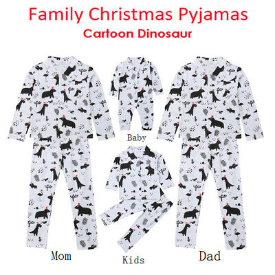USA Family Matching Adult Women Kids Baby Sleepwear Nightwear Pajamas Christmas