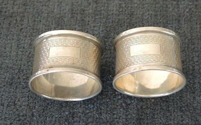 PAIR STERLING SILVER NAPKIN RINGS ENGINE TURNED NOT ENGRAVED H/M 1948 WEIGH 31 g