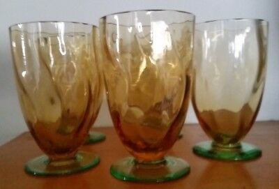 Antique Amber And Green Glass Glasses