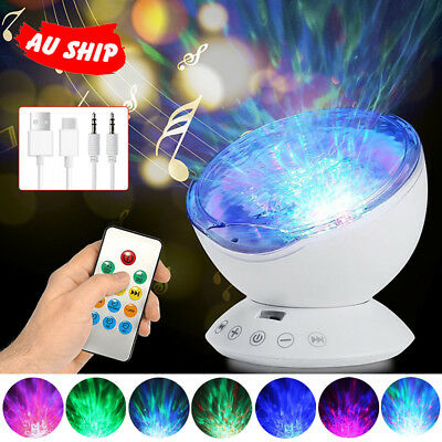 Ocean Wave LED Night Light Music Projector Remote Lamps Relaxing Sleep AU