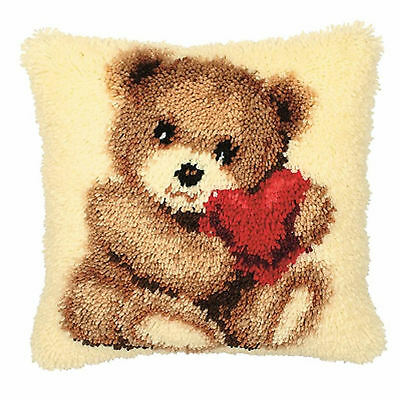 Teddy, Pre printed Latch Hook Cushion Kit, Soft Yarn, 40cm x 40cm