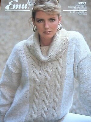 Emu 3997 Ladies Dk Cowl Neck Cable Panel Sweater Knitting Pattern