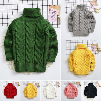 Girls Boys Autumn Winter Thick Roll-neck Knit Bottoming Sweater Tops Pullover D1