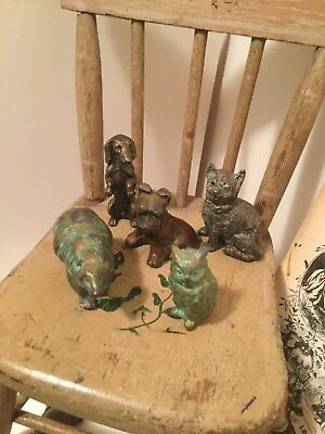 LOT 5 Pieces Antique Vintage Bronze Figures Owl Bear Daschund Sealyham Metal Cat