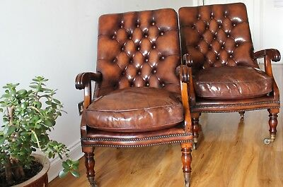 Pair of Stunning Early 20th Century Mahogany Open Framed Leather Armchairs