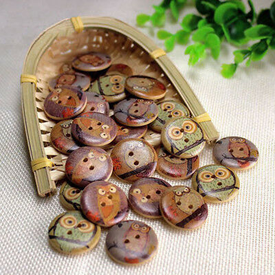 50Pcs Wooden Owl Buttons Round 2 Holes Sewing DIY Crafts 15mm 20mm 25mm 30mm